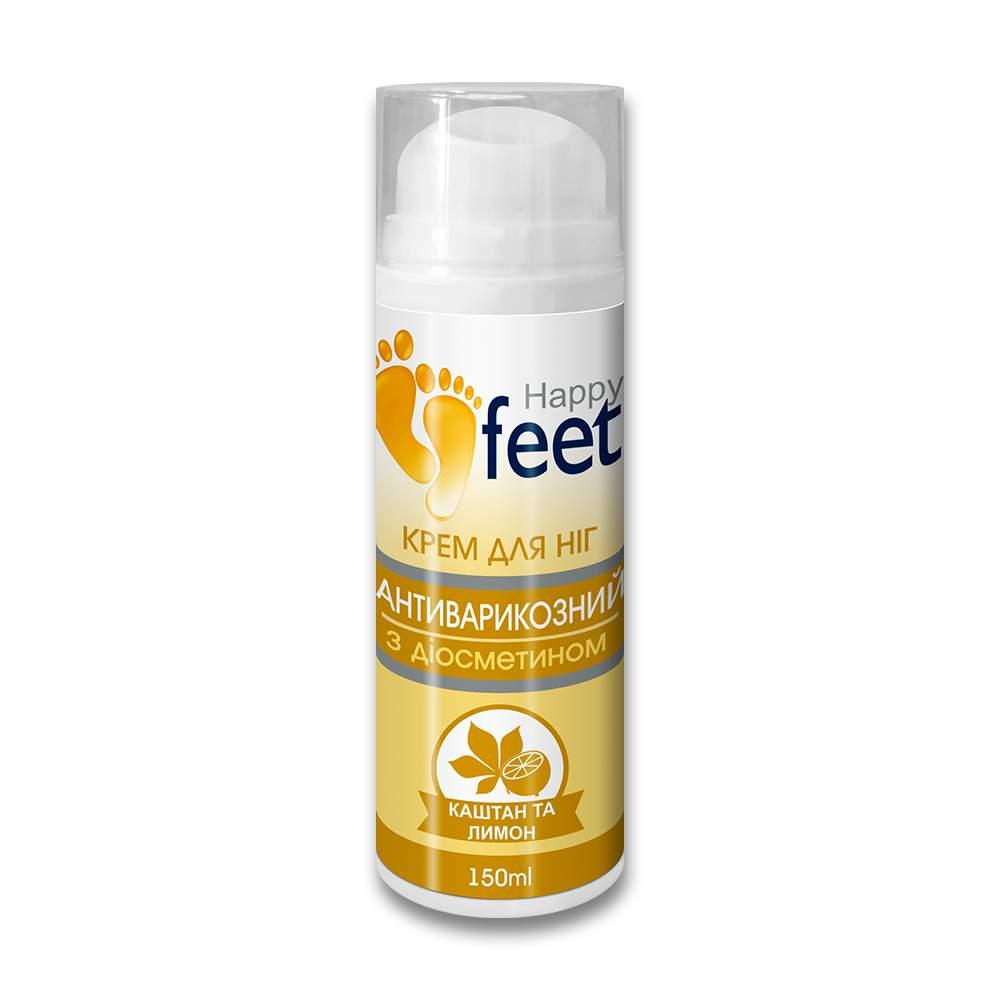 """Крем для ног """"Антиварикозный"""" HAPPY FEET с диосмином (каштан и лимон), 150 мл"""