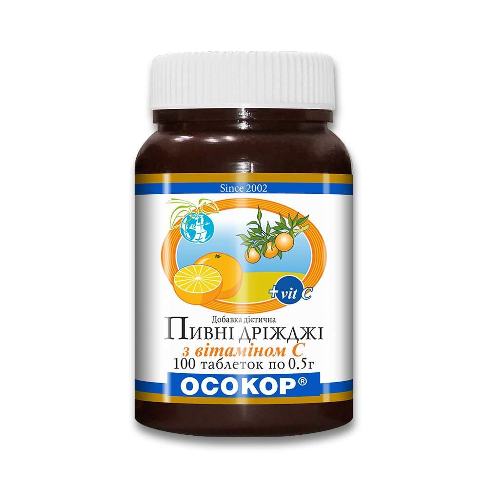 """Дрожжи пивные """"ОСОКОР"""" с витамином С, таблетки №100"""